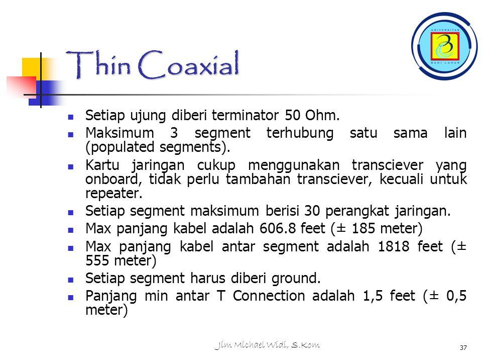 Jim Michael Widi, S.Kom 37 Thin Coaxial Setiap ujung diberi terminator 50 Ohm.