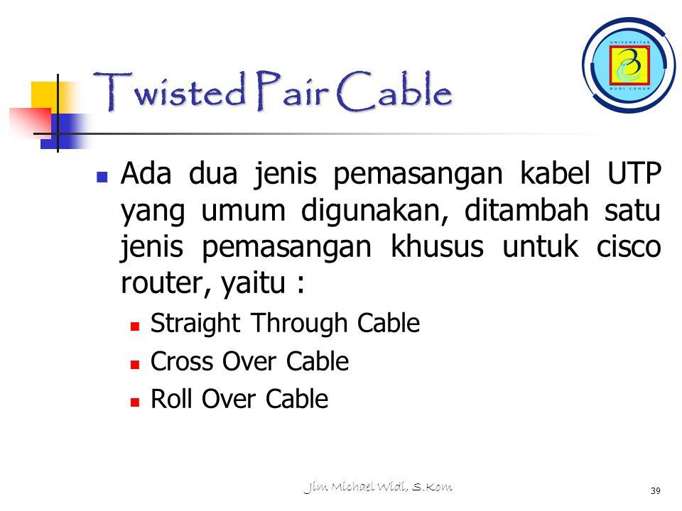 Jim Michael Widi, S.Kom 39 Twisted Pair Cable Ada dua jenis pemasangan kabel UTP yang umum digunakan, ditambah satu jenis pemasangan khusus untuk cisco router, yaitu : Straight Through Cable Cross Over Cable Roll Over Cable