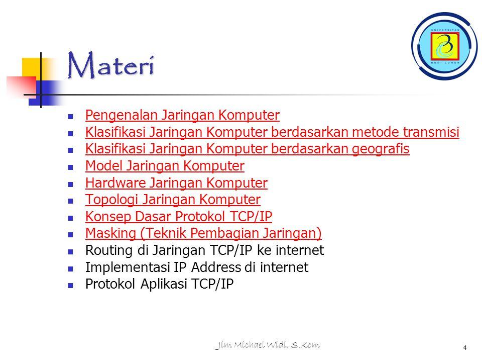 Jim Michael Widi, S.Kom 4 Materi Pengenalan Jaringan Komputer Pengenalan Jaringan Komputer Klasifikasi Jaringan Komputer berdasarkan metode transmisi Klasifikasi Jaringan Komputer berdasarkan metode transmisi Klasifikasi Jaringan Komputer berdasarkan geografis Klasifikasi Jaringan Komputer berdasarkan geografis Model Jaringan Komputer Model Jaringan Komputer Hardware Jaringan Komputer Hardware Jaringan Komputer Topologi Jaringan Komputer Topologi Jaringan Komputer Konsep Dasar Protokol TCP/IP Konsep Dasar Protokol TCP/IP Masking (Teknik Pembagian Jaringan) Masking (Teknik Pembagian Jaringan) Routing di Jaringan TCP/IP ke internet Implementasi IP Address di internet Protokol Aplikasi TCP/IP