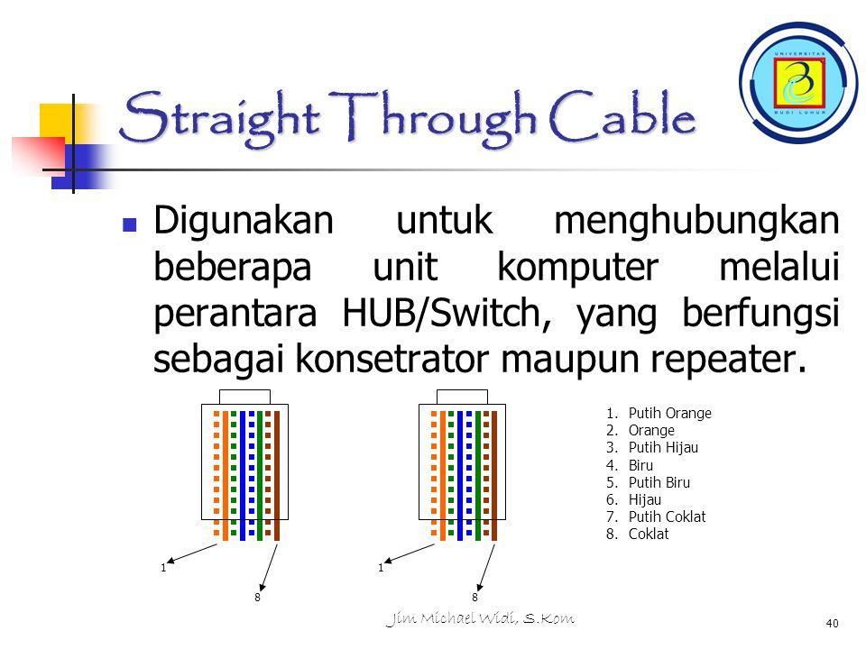 Jim Michael Widi, S.Kom 40 Straight Through Cable Digunakan untuk menghubungkan beberapa unit komputer melalui perantara HUB/Switch, yang berfungsi sebagai konsetrator maupun repeater.