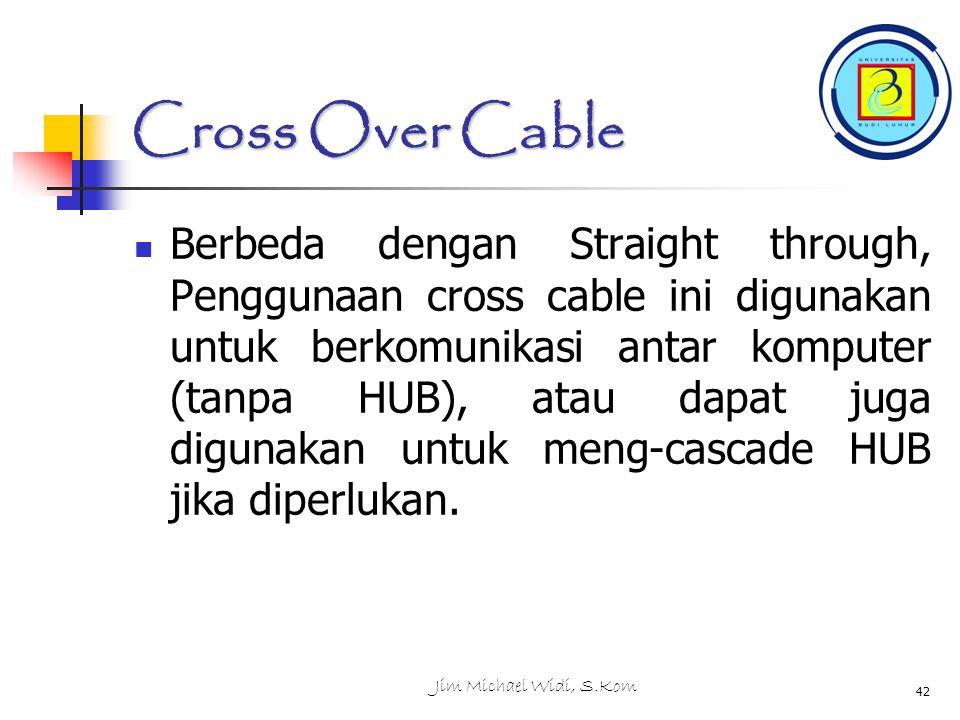 Jim Michael Widi, S.Kom 42 Cross Over Cable Berbeda dengan Straight through, Penggunaan cross cable ini digunakan untuk berkomunikasi antar komputer (tanpa HUB), atau dapat juga digunakan untuk meng-cascade HUB jika diperlukan.