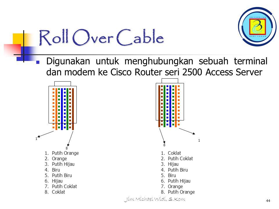 Jim Michael Widi, S.Kom 44 Roll Over Cable Digunakan untuk menghubungkan sebuah terminal dan modem ke Cisco Router seri 2500 Access Server 1.Putih Orange 2.Orange 3.Putih Hijau 4.Biru 5.Putih Biru 6.Hijau 7.Putih Coklat 8.Coklat 1 8 8 1 1.Coklat 2.Putih Coklat 3.Hijau 4.Putih Biru 5.Biru 6.Putih Hijau 7.Orange 8.Putih Orange