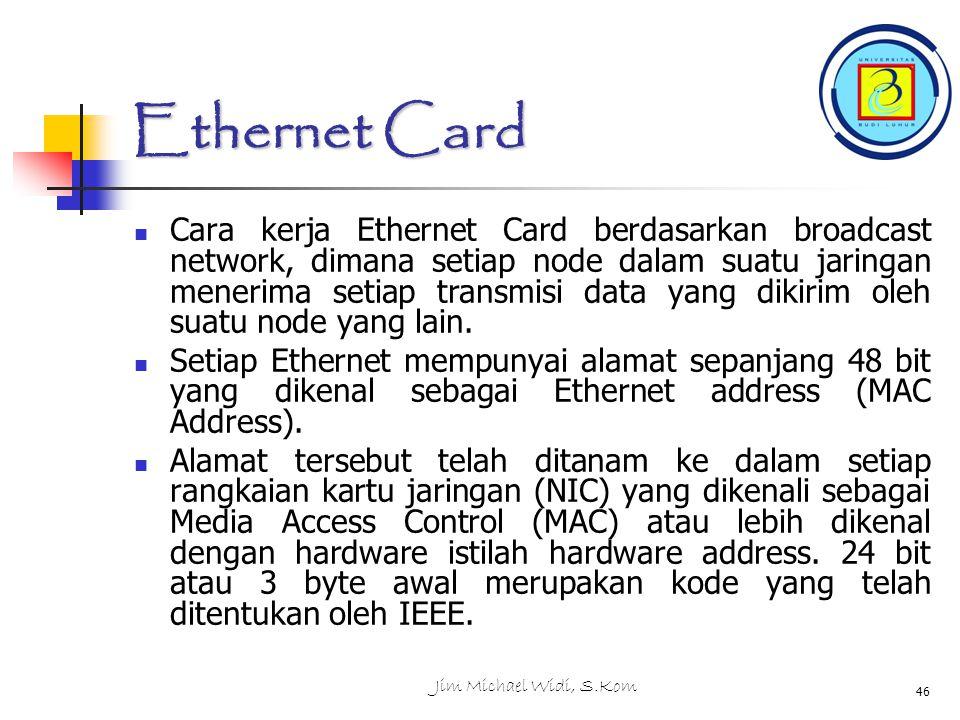 Jim Michael Widi, S.Kom 46 Ethernet Card Cara kerja Ethernet Card berdasarkan broadcast network, dimana setiap node dalam suatu jaringan menerima setiap transmisi data yang dikirim oleh suatu node yang lain.