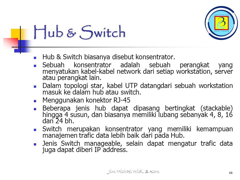 Jim Michael Widi, S.Kom 48 Hub & Switch Hub & Switch biasanya disebut konsentrator.