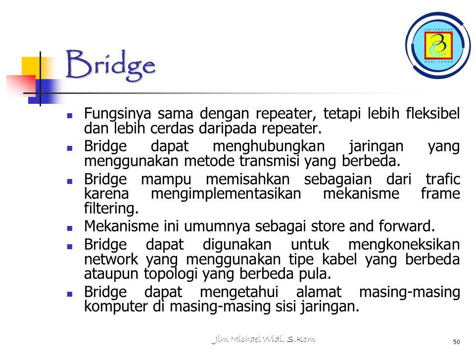 Jim Michael Widi, S.Kom 50 Bridge Fungsinya sama dengan repeater, tetapi lebih fleksibel dan lebih cerdas daripada repeater.