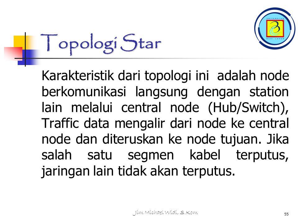 Jim Michael Widi, S.Kom 55 Topologi Star Karakteristik dari topologi ini adalah node berkomunikasi langsung dengan station lain melalui central node (Hub/Switch), Traffic data mengalir dari node ke central node dan diteruskan ke node tujuan.
