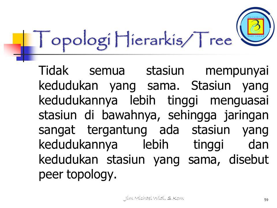 Jim Michael Widi, S.Kom 59 Topologi Hierarkis/Tree Tidak semua stasiun mempunyai kedudukan yang sama.