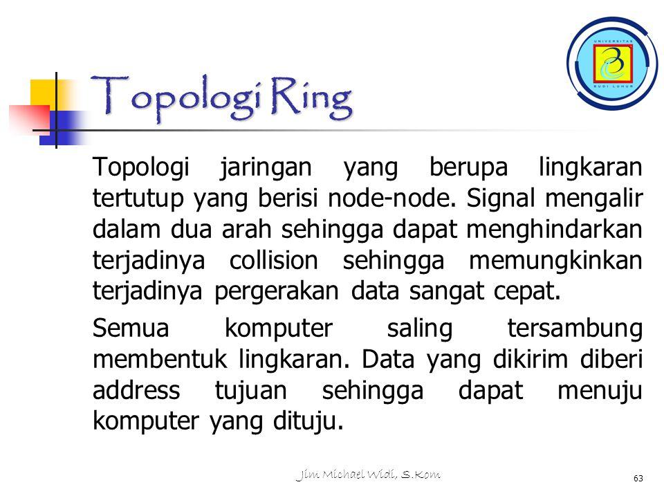 Jim Michael Widi, S.Kom 63 Topologi Ring Topologi jaringan yang berupa lingkaran tertutup yang berisi node-node.