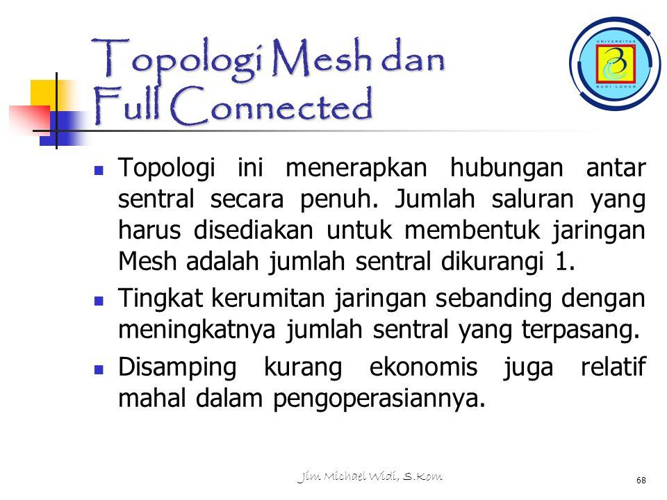Jim Michael Widi, S.Kom 68 Topologi Mesh dan Full Connected Topologi ini menerapkan hubungan antar sentral secara penuh.