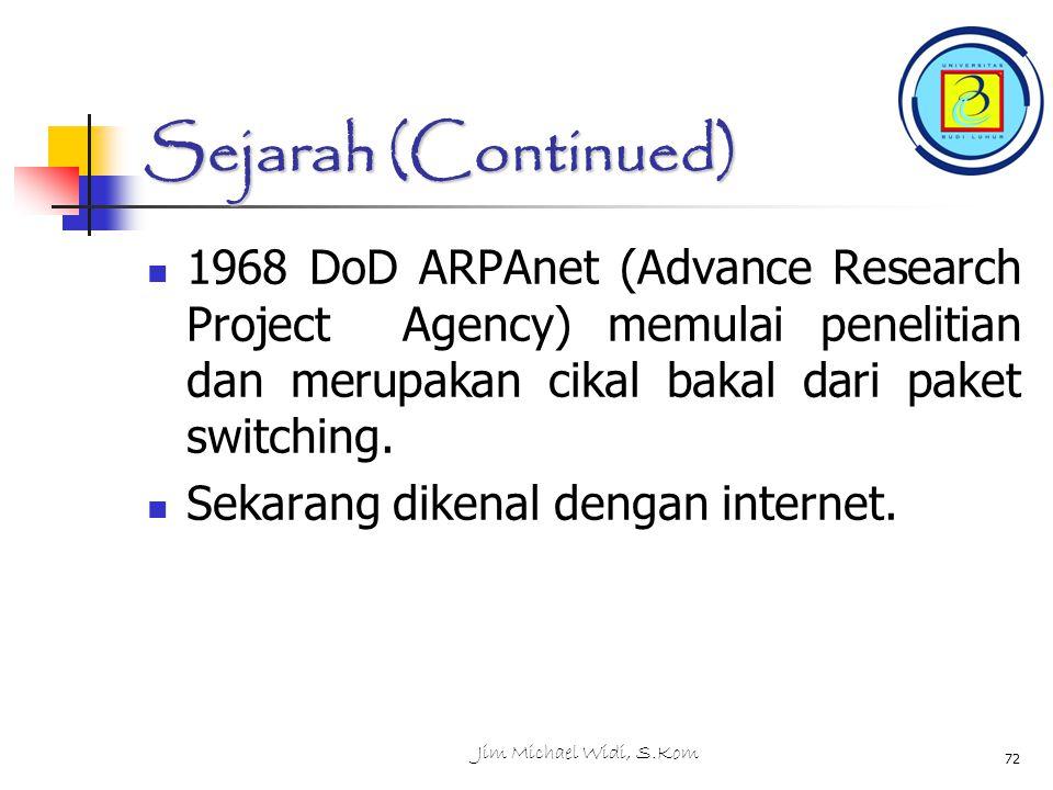 Jim Michael Widi, S.Kom 72 Sejarah (Continued) 1968 DoD ARPAnet (Advance Research Project Agency) memulai penelitian dan merupakan cikal bakal dari paket switching.