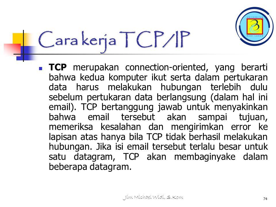 Jim Michael Widi, S.Kom 74 Cara kerja TCP/IP TCP merupakan connection-oriented, yang berarti bahwa kedua komputer ikut serta dalam pertukaran data harus melakukan hubungan terlebih dulu sebelum pertukaran data berlangsung (dalam hal ini email).