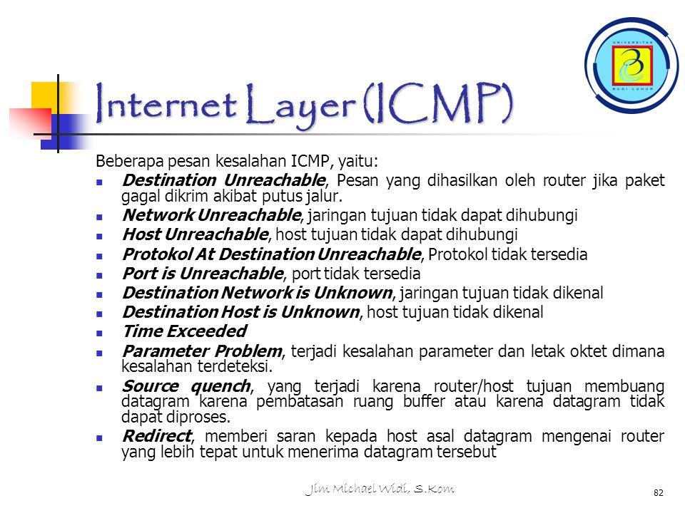 Jim Michael Widi, S.Kom 82 Internet Layer (ICMP) Beberapa pesan kesalahan ICMP, yaitu: Destination Unreachable, Pesan yang dihasilkan oleh router jika paket gagal dikrim akibat putus jalur.