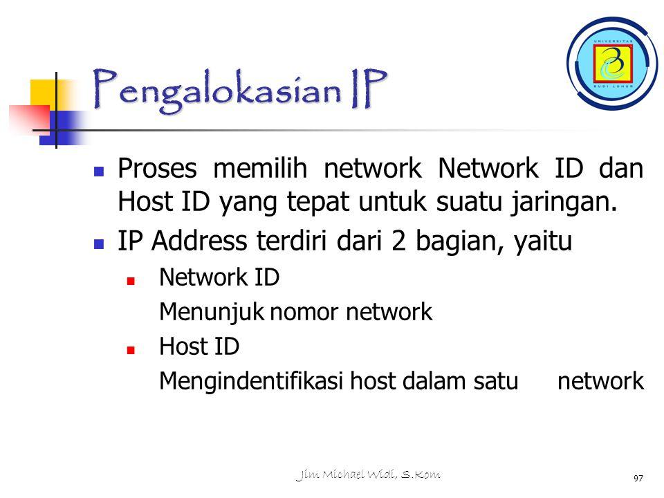 Pengalokasian IP Proses memilih network Network ID dan Host ID yang tepat untuk suatu jaringan.