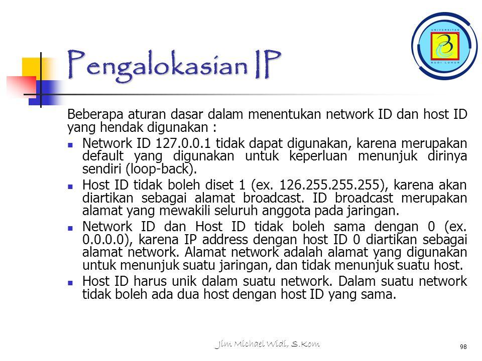 Pengalokasian IP Beberapa aturan dasar dalam menentukan network ID dan host ID yang hendak digunakan : Network ID 127.0.0.1 tidak dapat digunakan, karena merupakan default yang digunakan untuk keperluan menunjuk dirinya sendiri (loop-back).