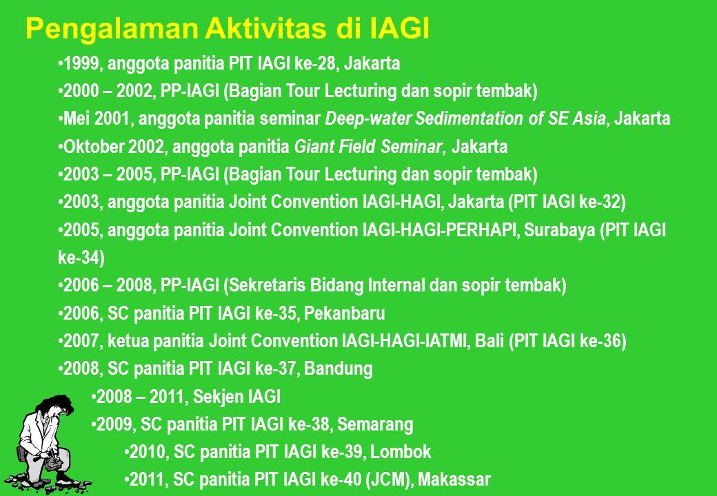 Pengalaman Aktivitas di IAGI 1999, anggota panitia PIT IAGI ke-28, Jakarta 2000 – 2002, PP-IAGI (Bagian Tour Lecturing dan sopir tembak) Mei 2001, ang