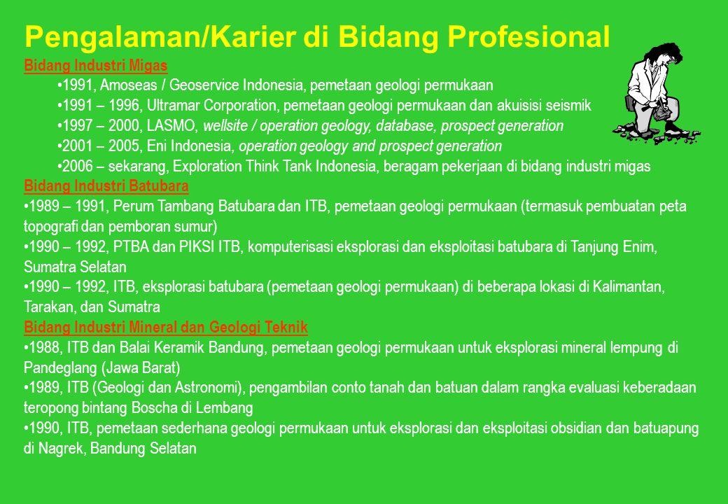 Pengalaman/Karier di Bidang Profesional Bidang Industri Migas 1991, Amoseas / Geoservice Indonesia, pemetaan geologi permukaan 1991 – 1996, Ultramar C