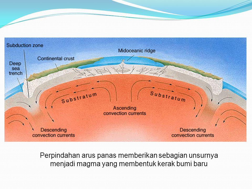 Perpindahan arus panas memberikan sebagian unsurnya menjadi magma yang membentuk kerak bumi baru