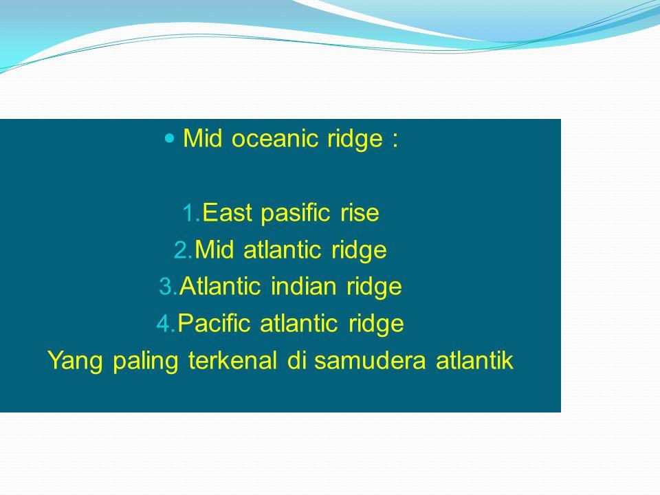 Mid oceanic ridge : 1. East pasific rise 2. Mid atlantic ridge 3. Atlantic indian ridge 4. Pacific atlantic ridge Yang paling terkenal di samudera atl