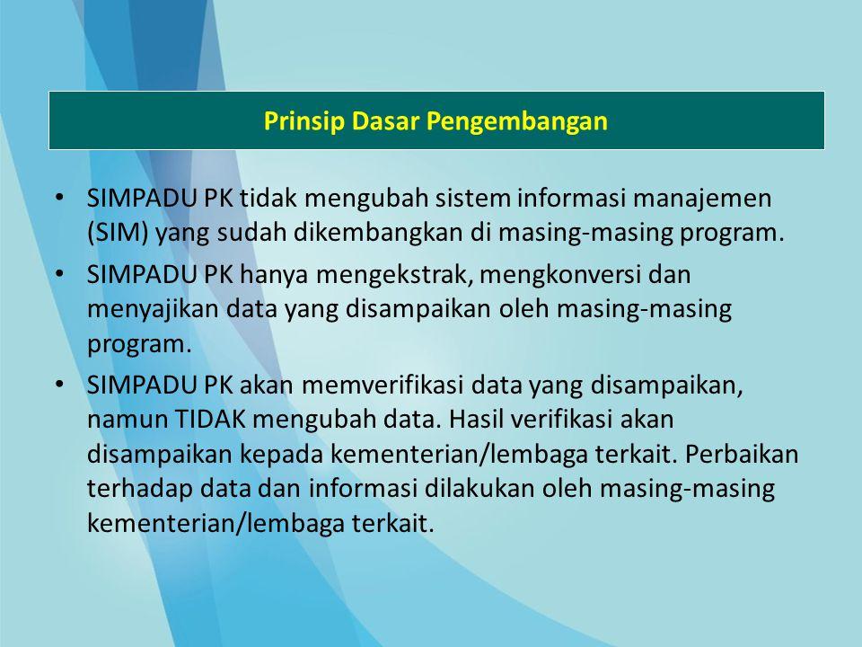 Prinsip Dasar Pengembangan SIMPADU PK tidak mengubah sistem informasi manajemen (SIM) yang sudah dikembangkan di masing-masing program. SIMPADU PK han