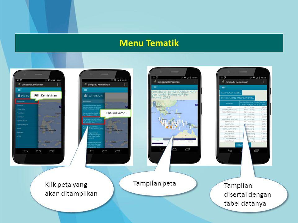 Menu Tematik Klik peta yang akan ditampilkan Tampilan peta Tampilan disertai dengan tabel datanya