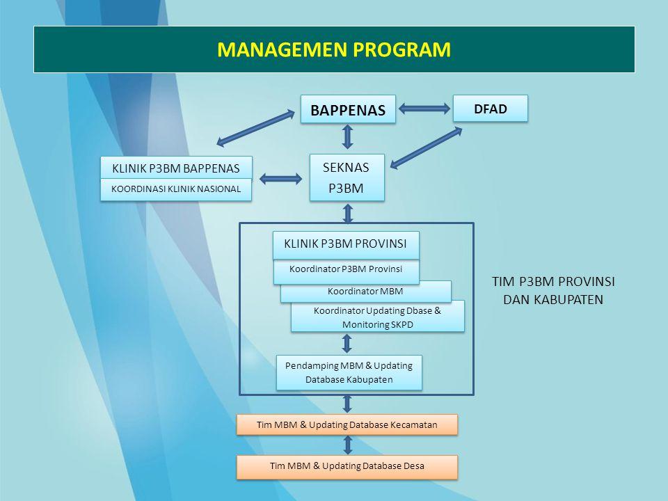 MANAGEMEN PROGRAM Koordinator Updating Dbase & Monitoring SKPD BAPPENAS SEKNAS P3BM DFAD Pendamping MBM & Updating Database Kabupaten KLINIK P3BM BAPP