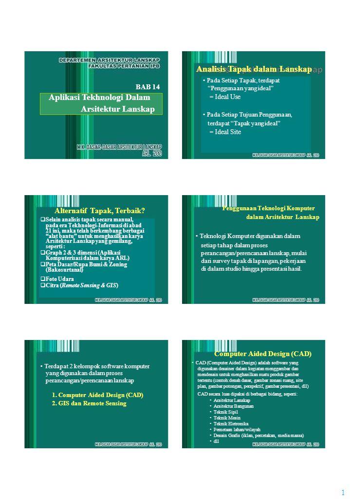 1 Analisis Tapak dalam Lanskap BAB 14 Aplikasi Tekhnologi Dalam Arsitektur Lanskap Alternatif Tapak, Terbaik?  Selain analisis tapak secara manual, p