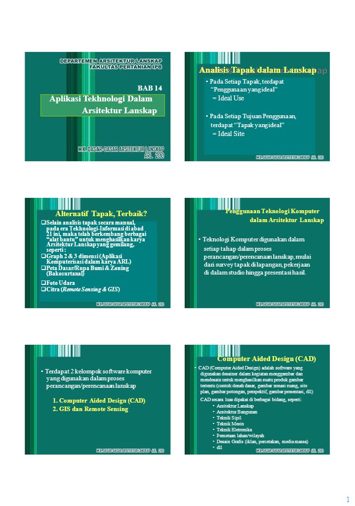 1 Analisis Tapak dalam Lanskap BAB 14 Aplikasi Tekhnologi Dalam Arsitektur Lanskap Alternatif Tapak, Terbaik.