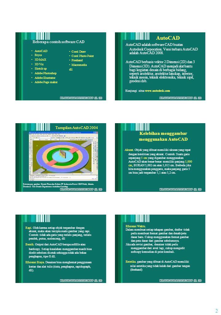 2 Beberapa contoh software CAD AutoCAD Bryce 3D MAX 3D Viz Sketch up Adobe Photoshop Adobe Illustrator Adobe Page maker Corel Draw Corel Photo Paint Freehand Macromedia dll AutoCAD AutoCAD adalah software CAD buatan Autodesk Corporation.