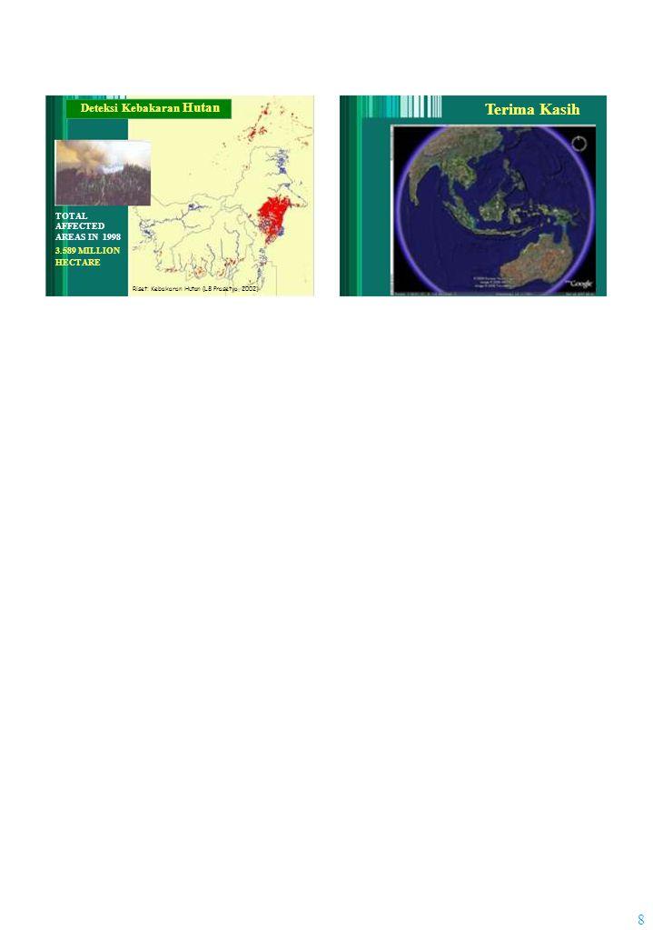 Deteksi Kebakaran Hutan TOTAL AFFECTED AREAS IN 1998 3.589 MILLION HECTARE Riset: Kebakaran Hutan (LB Prasetyo, 2002) 8 Terima Kasih