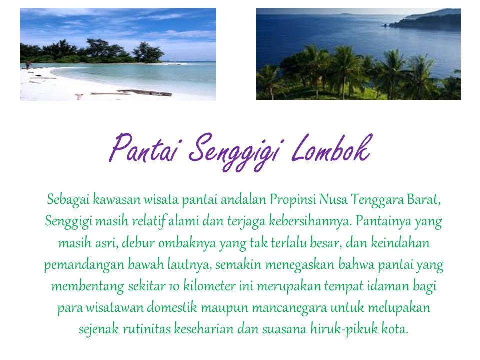 Pantai Senggigi Lombok Sebagai kawasan wisata pantai andalan Propinsi Nusa Tenggara Barat, Senggigi masih relatif alami dan terjaga kebersihannya. Pan