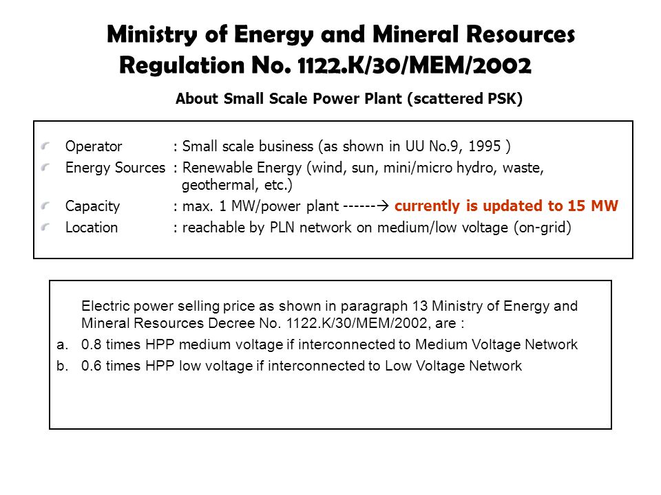 Ministry of Energy and Mineral Resources Regulation No.