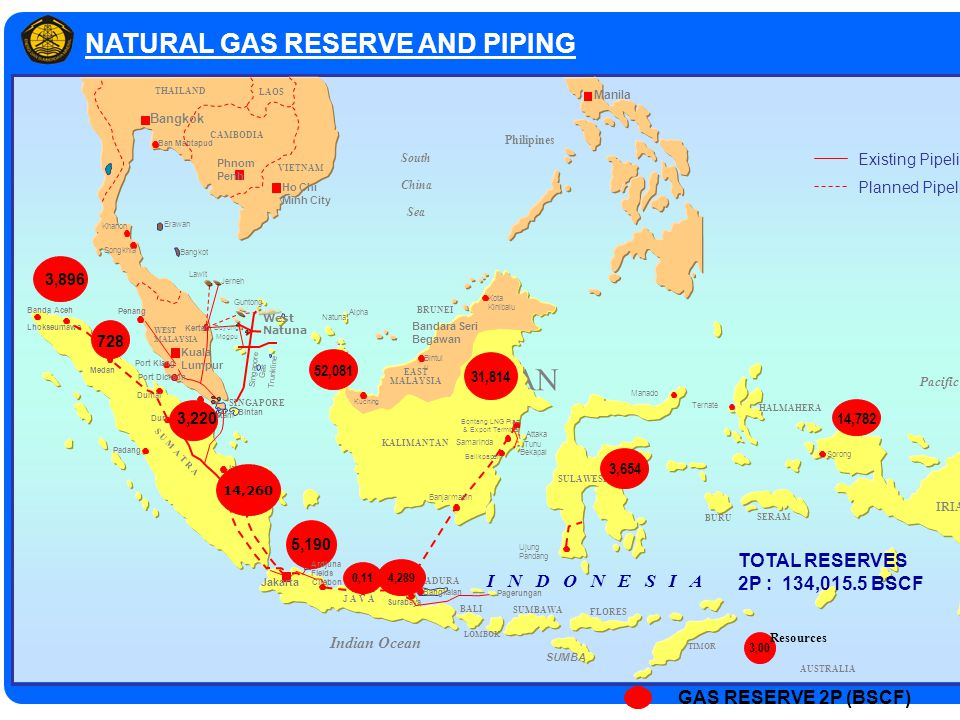 Grissik Palembang Semarang NATURAL GAS RESERVE AND PIPING TRAN Pacific Ocean AUSTRALIA Indian Ocean Bangkok Phnom Penh Ban Mabtapud Ho Chi Minh City C