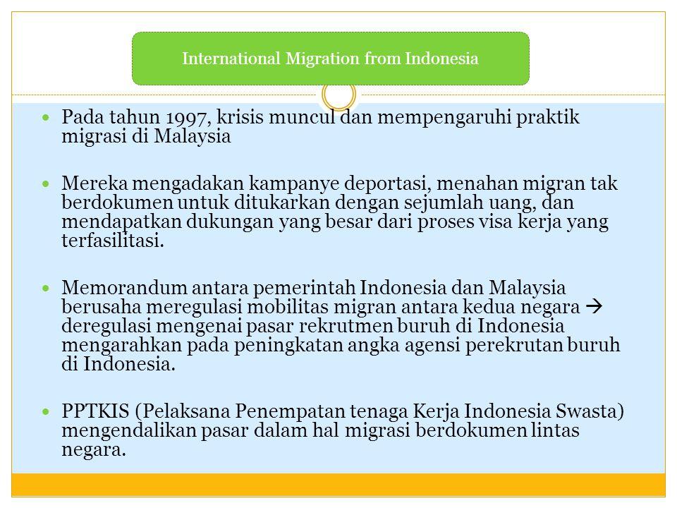 Pada tahun 1997, krisis muncul dan mempengaruhi praktik migrasi di Malaysia Mereka mengadakan kampanye deportasi, menahan migran tak berdokumen untuk