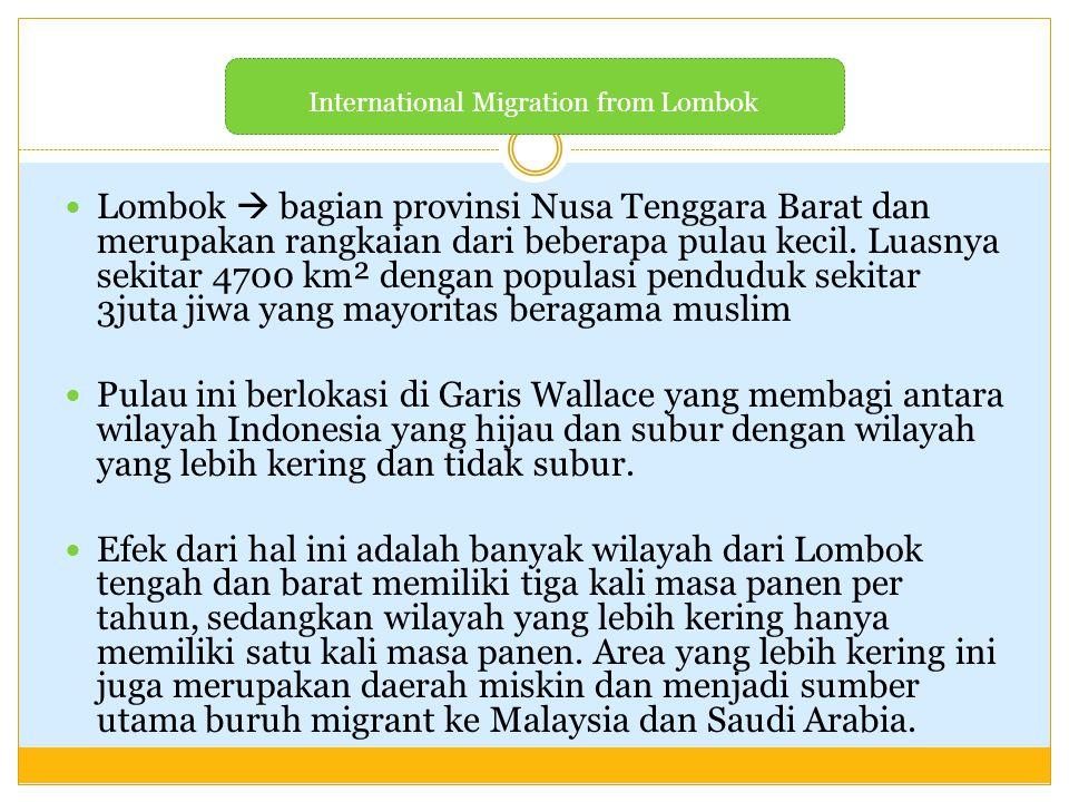 Lombok  bagian provinsi Nusa Tenggara Barat dan merupakan rangkaian dari beberapa pulau kecil. Luasnya sekitar 4700 km² dengan populasi penduduk seki