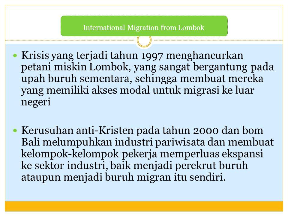 Krisis yang terjadi tahun 1997 menghancurkan petani miskin Lombok, yang sangat bergantung pada upah buruh sementara, sehingga membuat mereka yang memi