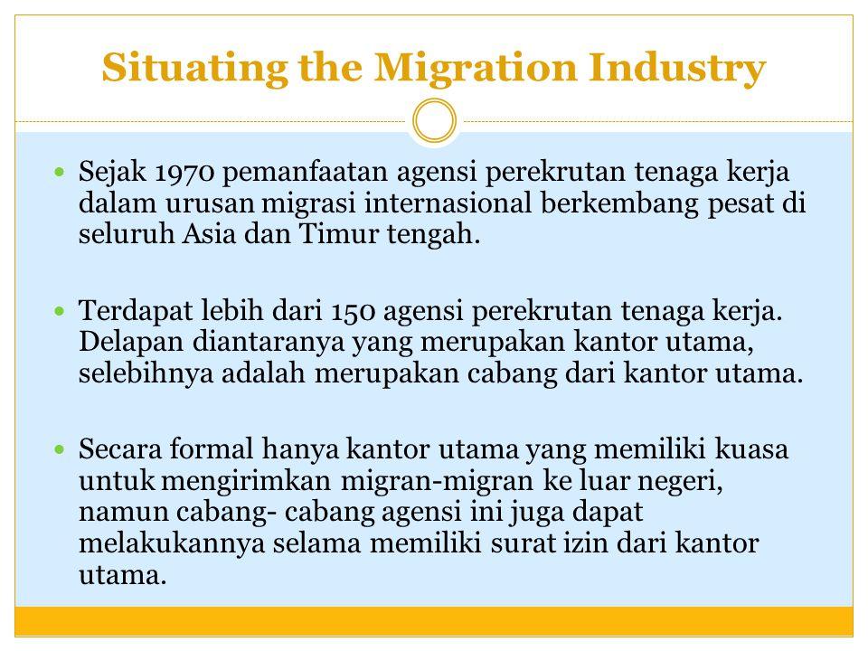 Situating the Migration Industry Sejak 1970 pemanfaatan agensi perekrutan tenaga kerja dalam urusan migrasi internasional berkembang pesat di seluruh