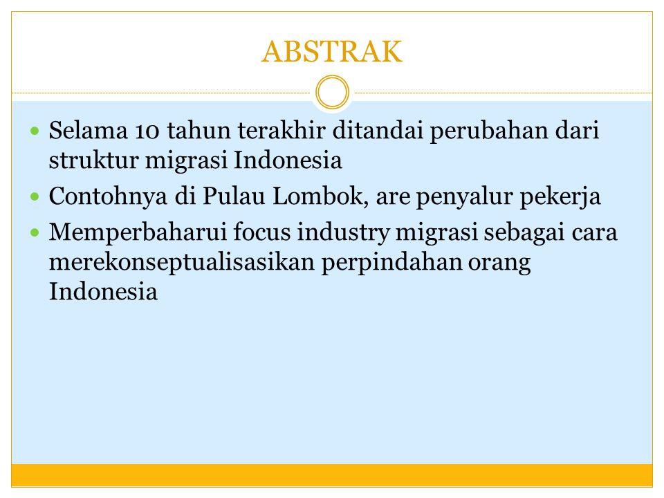 ABSTRAK Selama 10 tahun terakhir ditandai perubahan dari struktur migrasi Indonesia Contohnya di Pulau Lombok, are penyalur pekerja Memperbaharui focu