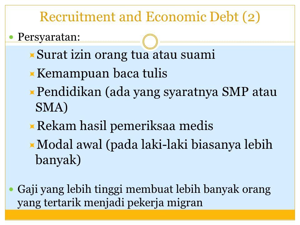 Recruitment and Economic Debt (2) Persyaratan:  Surat izin orang tua atau suami  Kemampuan baca tulis  Pendidikan (ada yang syaratnya SMP atau SMA)