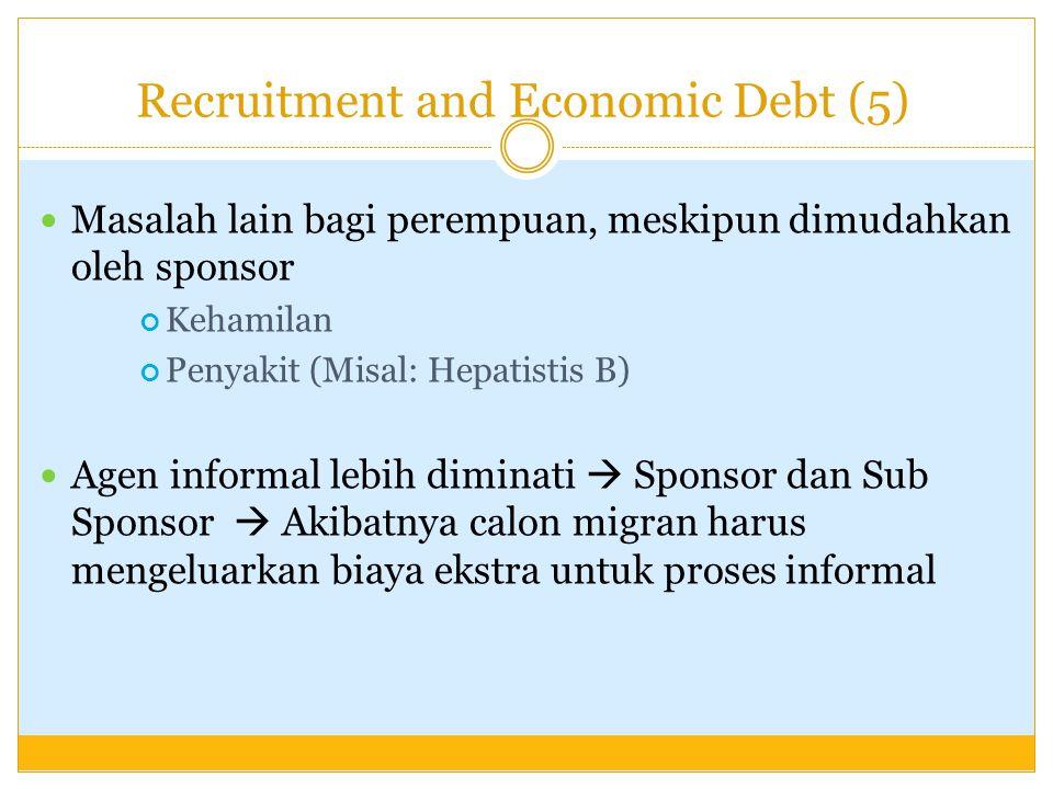 Recruitment and Economic Debt (5) Masalah lain bagi perempuan, meskipun dimudahkan oleh sponsor Kehamilan Penyakit (Misal: Hepatistis B) Agen informal