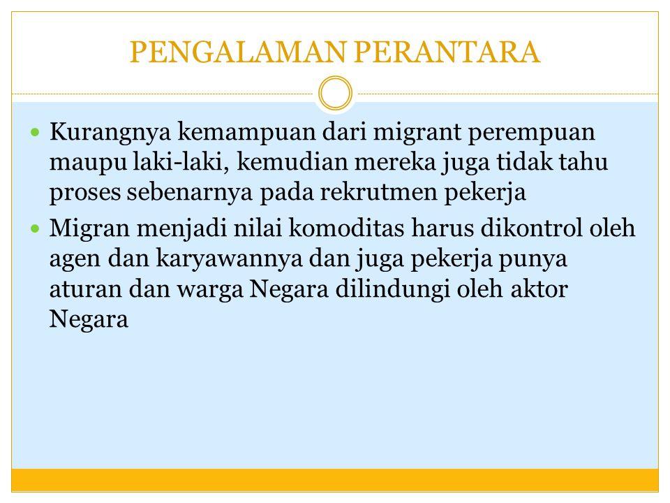 Recruitment and Economic Debt (5) Masalah lain bagi perempuan, meskipun dimudahkan oleh sponsor Kehamilan Penyakit (Misal: Hepatistis B) Agen informal lebih diminati  Sponsor dan Sub Sponsor  Akibatnya calon migran harus mengeluarkan biaya ekstra untuk proses informal