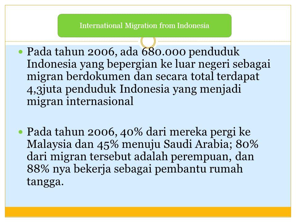 Pada tahun 2006, ada 680.000 penduduk Indonesia yang bepergian ke luar negeri sebagai migran berdokumen dan secara total terdapat 4,3juta penduduk Ind