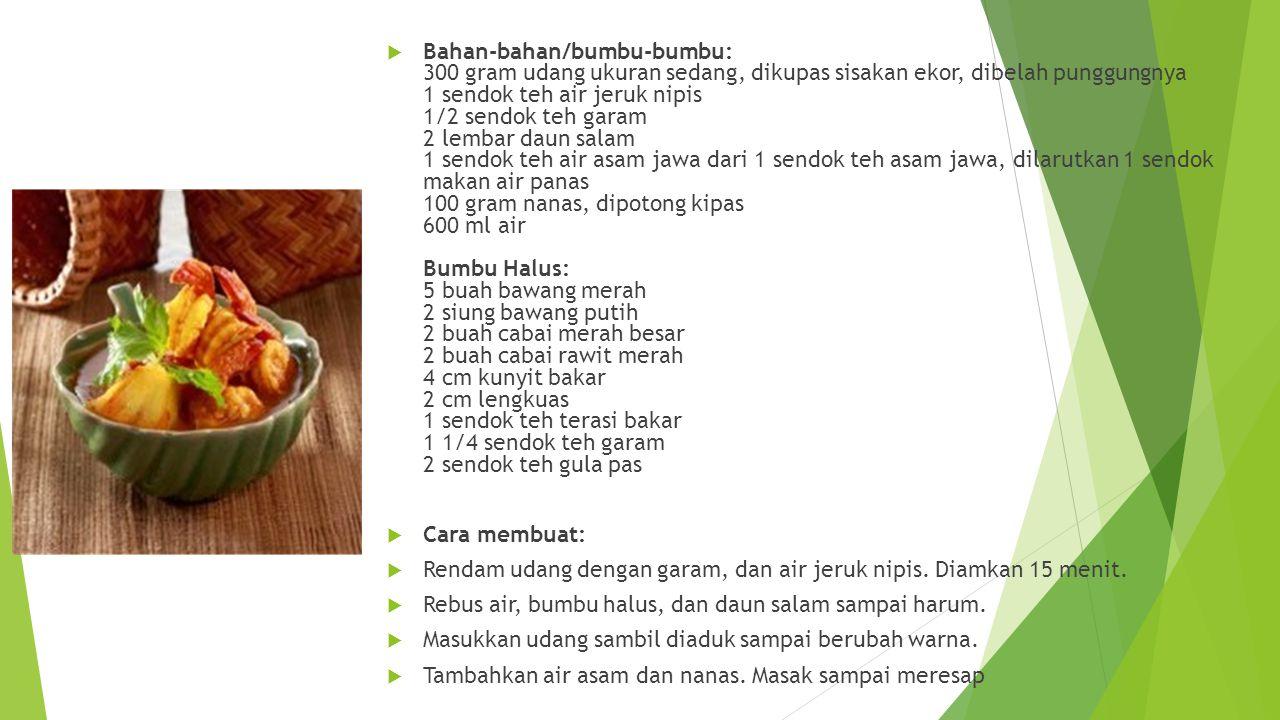 KKandungan gizi gangan udang merupakan makanan yang bahan baku utamanya adalah udang.