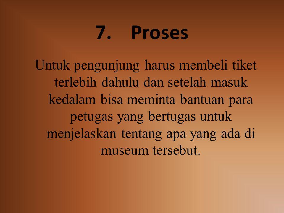 7.Proses Untuk pengunjung harus membeli tiket terlebih dahulu dan setelah masuk kedalam bisa meminta bantuan para petugas yang bertugas untuk menjelaskan tentang apa yang ada di museum tersebut.