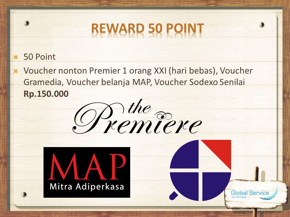 80 Point  Potongan Tiket Pesawat Rp.300.000 (semua maskapai, semua rute, one way).