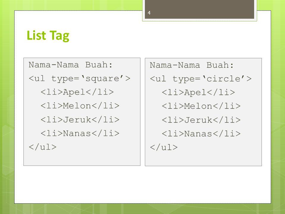 List Tag 5 Nama-Nama Buah: Apel Melon Jeruk Nanas Nama-Nama Buah: Apel Melon Jeruk Nanas Type : 1, A, a, I, i