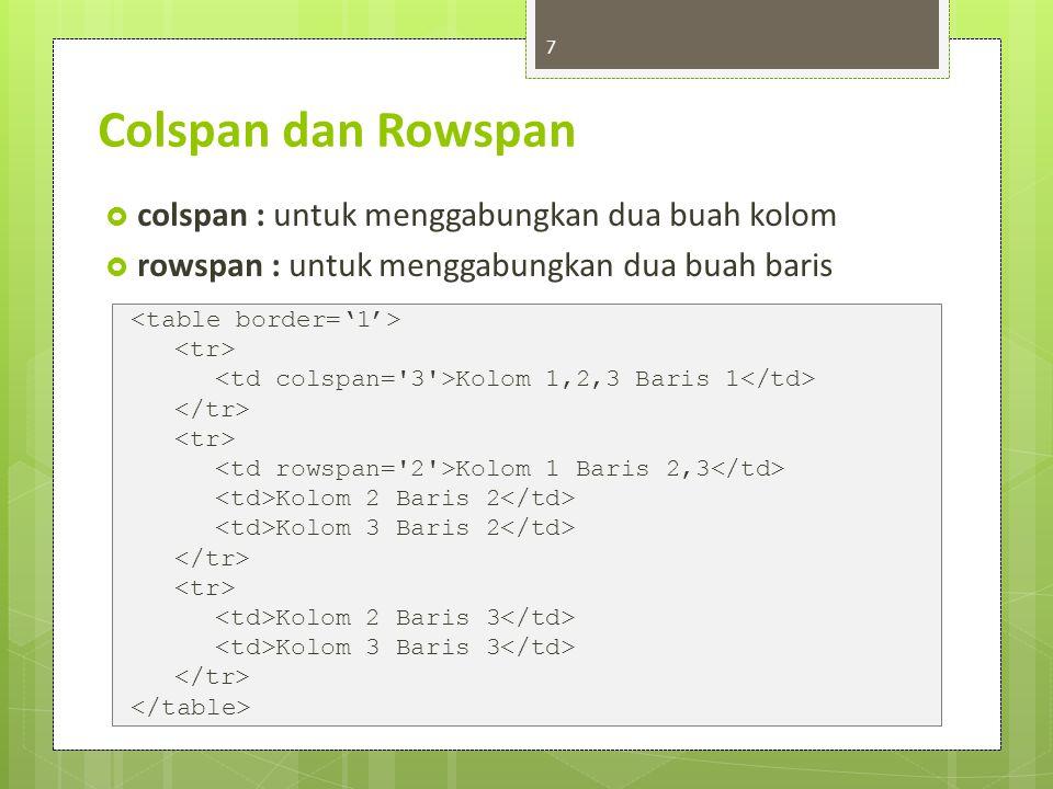Atributes  border, width, cellpadding, cellspacing  align, valign, colspan, rowspan, height, width, 8