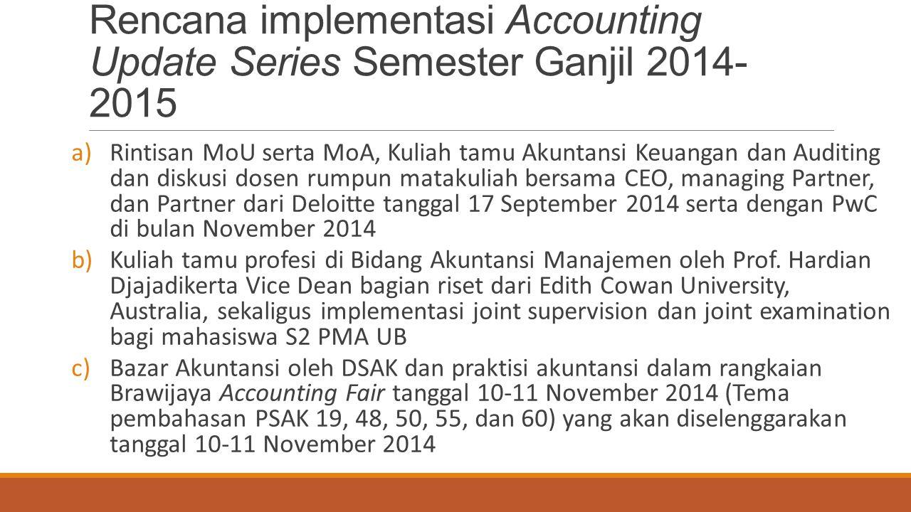 Rencana implementasi Accounting Update Series Semester Ganjil 2014- 2015 a)Rintisan MoU serta MoA, Kuliah tamu Akuntansi Keuangan dan Auditing dan dis