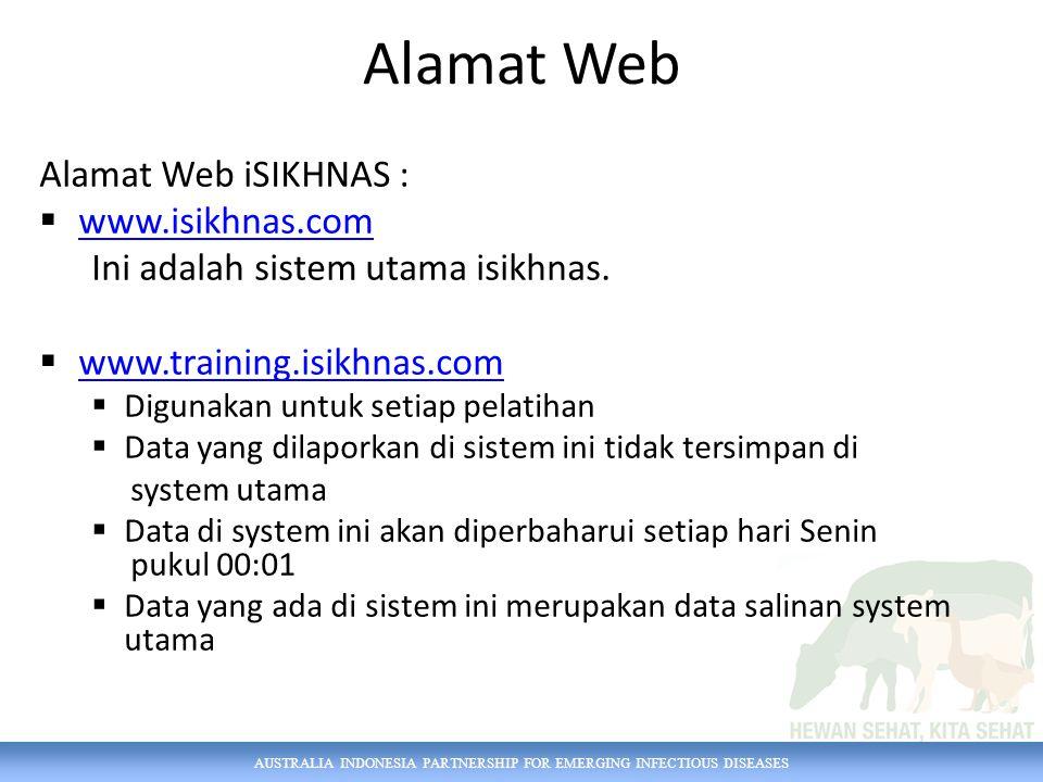 AUSTRALIA INDONESIA PARTNERSHIP FOR EMERGING INFECTIOUS DISEASES Login WEB Pengguna harus teregistrasi Mengisi nama pengguna dan kata sandi Nama pengguna (username) – Dapat menggunakan email / no telpon terdaftar