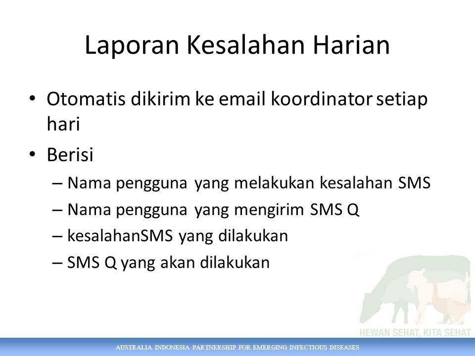 AUSTRALIA INDONESIA PARTNERSHIP FOR EMERGING INFECTIOUS DISEASES Laporan Kesalahan Harian Otomatis dikirim ke email koordinator setiap hari Berisi – N