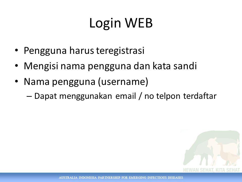 AUSTRALIA INDONESIA PARTNERSHIP FOR EMERGING INFECTIOUS DISEASES Login WEB Pengguna harus teregistrasi Mengisi nama pengguna dan kata sandi Nama pengg